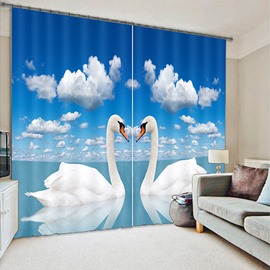 White Swan Lovers Printed Room Darkening 3D Curtain