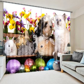 3D Lovely Dogs Cats Moses and Chicks Printed Happily Animals Garden Baby Room Curtain