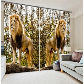 Couple Lifelike Lions Printed 3D Polyester Curtain