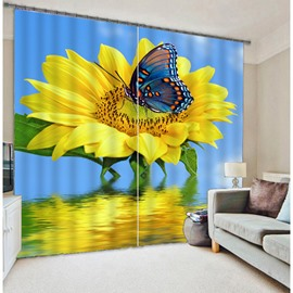 3D Big Sunflower and Pretty Butterfly Printed Thick Polyester Two Panels Bed Room Curtain