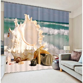 3D Seaside Starfish Printed Thick Polyester Wonderful Scenery Two Panels 3D Curtain