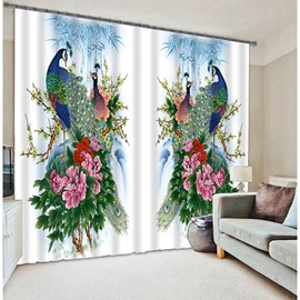 Oriental Traditional Peacocks with Blossoms Printed Animal Style Blackout Custom 3D Curtain