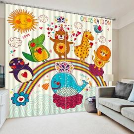Cute Cartoon Animals Standing on the Rainbow Print 3D Blackout Curtain
