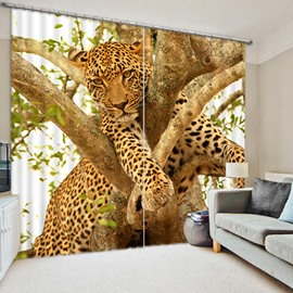 3D Leopard Climbing the Tree Printed Polyester Custom Blackout Curtain for Living Room