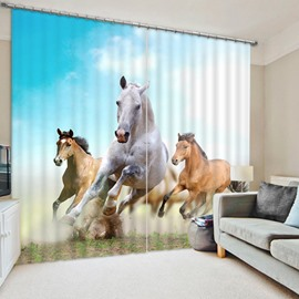 3D Speed Horses Printed Animal Style Decoration and Blackout Polyester Curtain