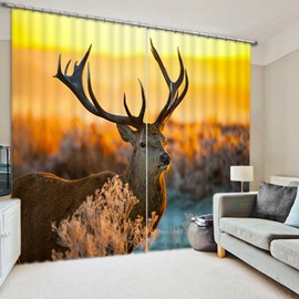 A Milu Deer At Sunset Print 3D Blackout Curtain