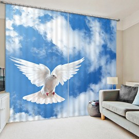 A White Dove Flying in the Blue Sky Print 3D Blackout Curtain
