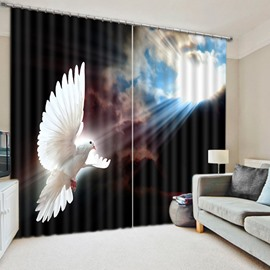 Flying White Dove with Sky Animal Scenery Living Room Decorative 3D Curtain