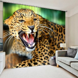 3D Howling Leopard Printed Ferocious Animals Thick Polyester Decorative and Blackout Curtain