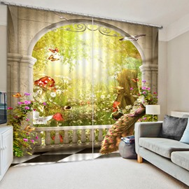 3D Peacock Butterflies Dove and Mushroom in Magic Garden Printed Decoration Polyester Curtain