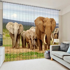 3D Elephants Printed Thick Polyester Cotton Animals Scenery Blackout and Shading Curtain