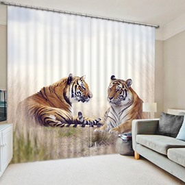 3D Chubby and Lovely Tigers Printed Animals Scenery 2 Panels Decorative Curtain