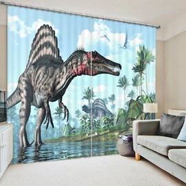 3D Fierce Dinosaur Printed Animal Scenery Thick Polyester 2 Pieces Living Room Blackout Curtain