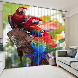 3D Vibrant Colored Parrots Printed Animal Style 2 Pieces Decorative Blackout Curtain