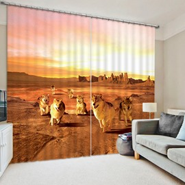 3D Wolves in the Desert with Sunset Printed Thick Polyester 2 Panels Blackout Curtain
