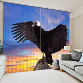 3D Wild Black Eagle Spreading Wings Printed Vivid and Creative Decorative and Blackout Curtain