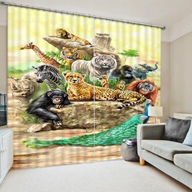 3D Colorful Tiger Leopard Peacock Monkey Printed Wild Animals Printed Polyester Shading Curtain