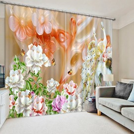 3D Elegant Peacocks and Butterflies with Carved White Flowers Printed Blackout and Decorative Curtain