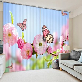 3D Pink Peach Blossom and Butterflies Printed 2 Pieces Natural Style Blackout and Dust-Proof Curtain