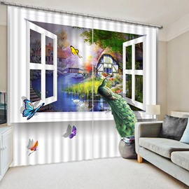 3D Elegant Peacock Standing in the Window Print 3D Blackout Curtain