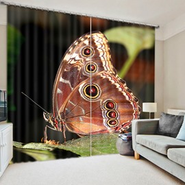 3D Lively Butterfly on the Leaves Printed Beautiful and Vivid Scenery Blackout Room Curtain