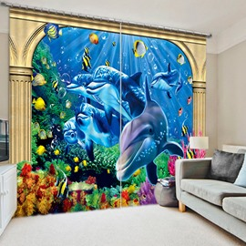 3D Cute Dolphins and Golden Fishes Printed Sea World 2 Panels Shading Curtain