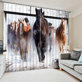 3D Impetuous Horses Printed Thick Polyester Animals Style 2 Panels Blackout Custom Curtain