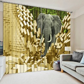 3D Elephant Breaking the Wall Printed 2 Pieces Decorative and Blackout Curtain