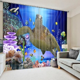 A Big Sea Turtle Swimming Dark Blue Printed 3D Curtain