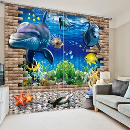 3D Adorable Dolphins and Sea World Printed Thick Cotton Decorative and Blackout Curtain