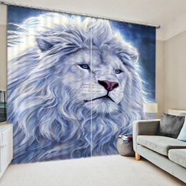 3D White Lion King Printed Thick Polyester Animal Style 2 Panels 3D Curtain