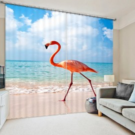 Beautiful Flamingo Walking on the Beach Printed 3D Curtain