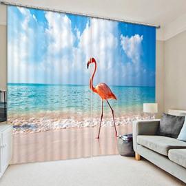 A Flamingo Standing on the Beach Print 3D Blackout Curtain