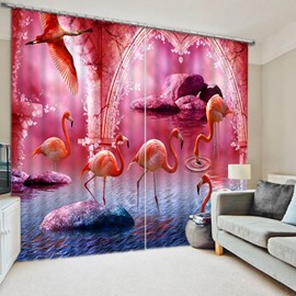3D Flamingos Printed Vivid Purple Wonderful Scenery Blackout and Blackout Polyester Curtain