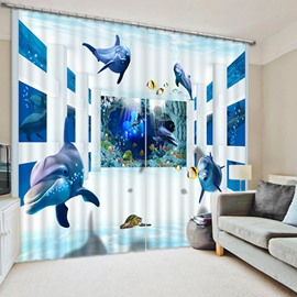 3D Happy Dolphins and Turtle Printed Wonderful Undersea World 2 Panels Shading Curtain