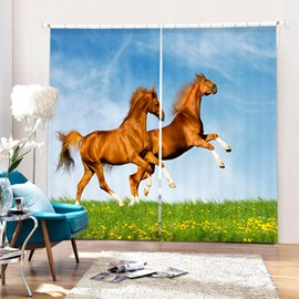 Two Jumping Horses on the Grassland Vivid Animal Pattern Thick Polyester 3D Curtain