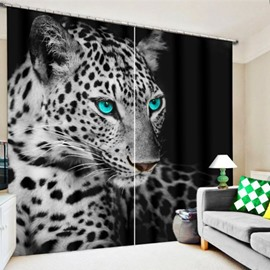 3D Wild Leopard with Bright Eyes Printed Thick Polyester 2 Panels Decorative Curtain