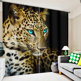 3D Printed Ferocious Leopard with Bright Blue Eyes Animal Style Blackout Polyester Curtain