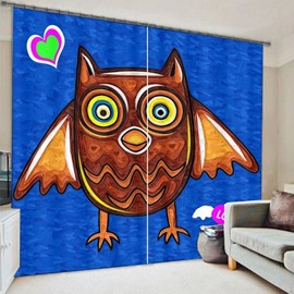 Cute and Lovely Cartoon Owl Printing Thick Polyester Decorative and Shading 3D Curtain