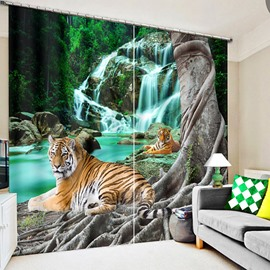 3D Couple Tigers Crouching near the Waterfall Printed Decoration and Blackout Polyester Curtain