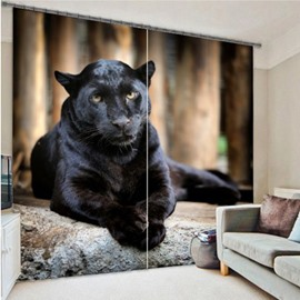 3D Ferocious Crouching Panther Printed Animal Style Decoration and Blackout Polyester Curtain