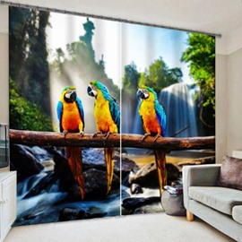3D Three Colorful Cute Parrots Printed Polyester Cotton Decorative Custom Curtain