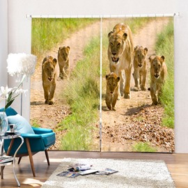 3D Cute Lion Babies with Their Mom Printed 2 Panels Living Room Curtain