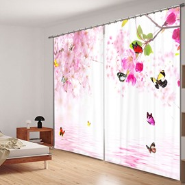 Butterflies flying around Peach Blossoms Living Room and Bedroom Decorative Window 3D Curtain