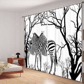 3D Zebras under the Trees Printed Concise Style Black and White Study Room Curtain
