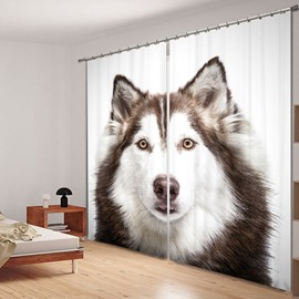 3D Cute Little Husky Printed Thick Polyester 2 Panels Window Decorative and Shading Curtain