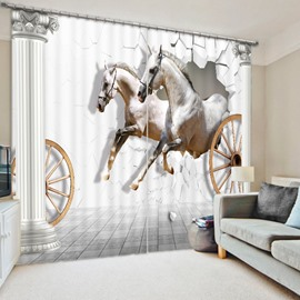 White Horses Running 3D Printed Polyester Curtain