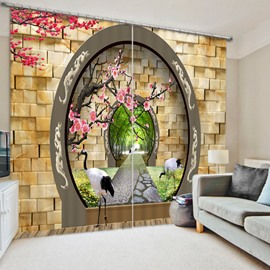 3D Cranes and Peach Branches with Arched Door Printed Artistic Pattern Study Room Curtain