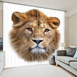 Vivid Lion Face 3D Printed Polyester Curtain
