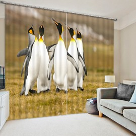 3D Pleasantly Penguins Printed Animal Scenery 2 Panels Decorative and Blackout Curtain